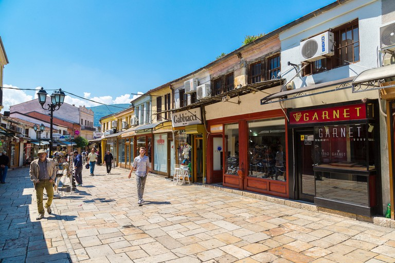 Marketplace in old town in Skopje in a beautiful summer day, Macedonia