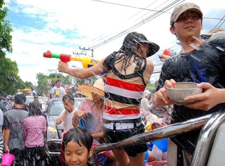 Revellers get wet and wild during Songkran in Bangkok