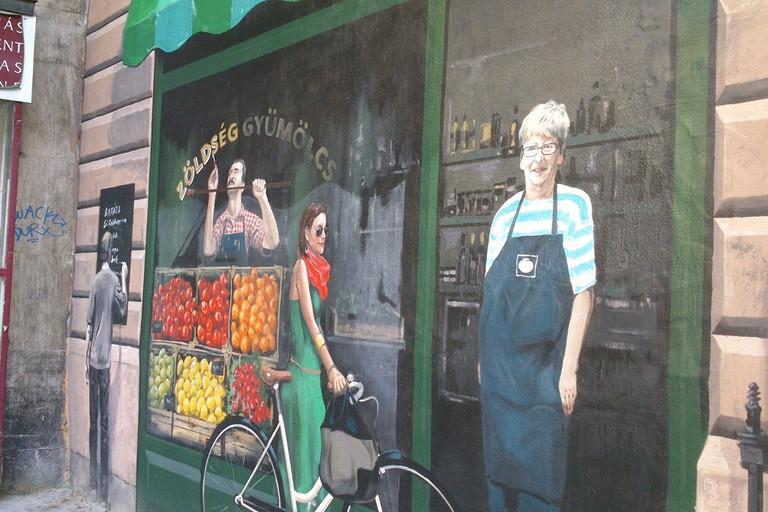Budapest street art grocery stall