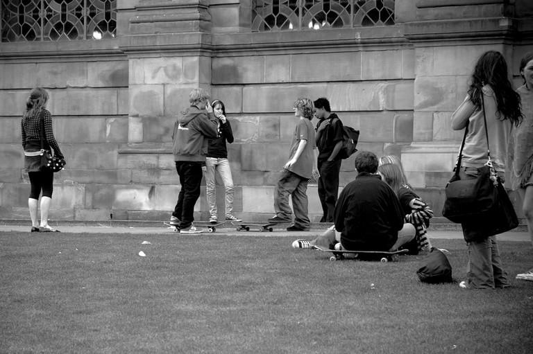 Teens in Pigeon Park, Birmingham