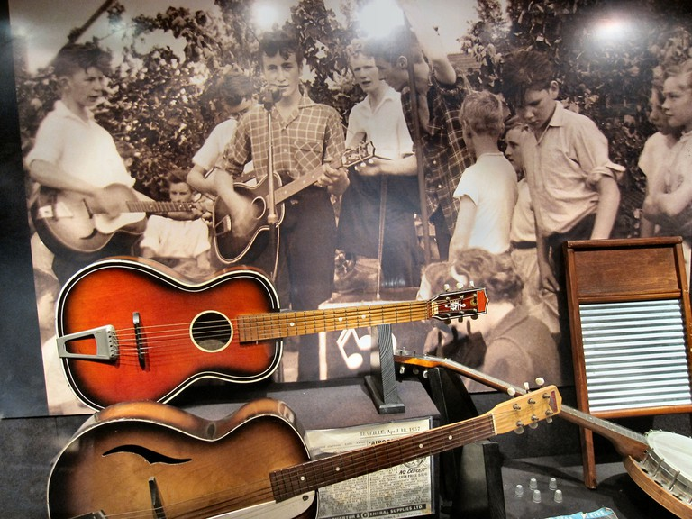 The first photo of The Quarrymen – their original instruments infront
