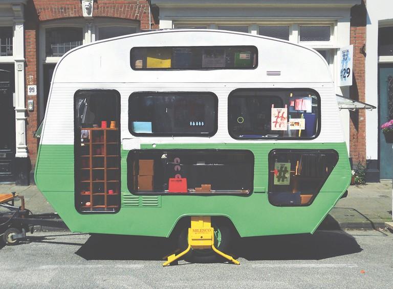 Pop-Up Caravan, Tas-ka, The Netherlands, 2014. Steel chassis, aluminium, rubber, corrugated steel, Plexiglas, chipboard