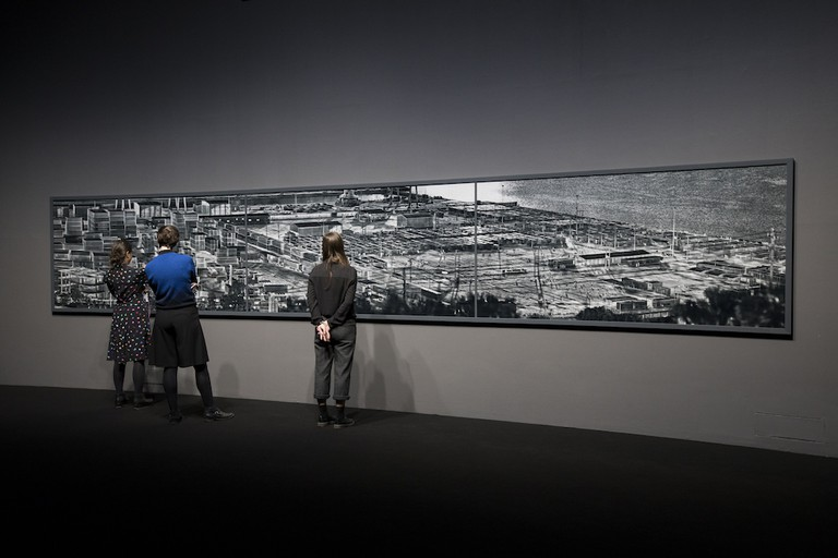 Installation view of Incoming by Richard Mosse in collaboration with Trevor Tweeten and Ben Frost at The Curve, Barbican Centre, 2017