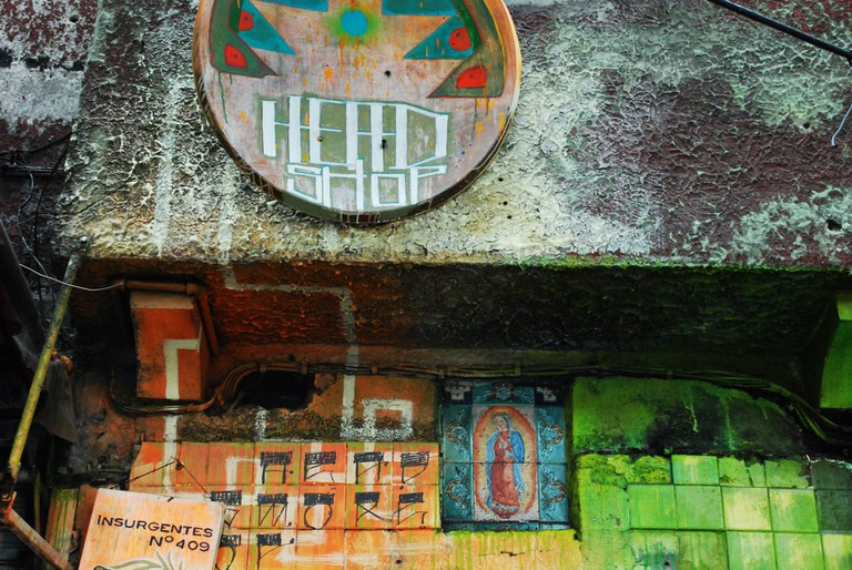 Condesa street art, featuring the Virgen de Guadalupe