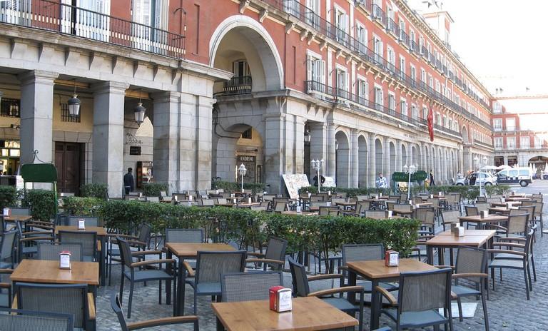 Sit outside at the Plaza Mayor