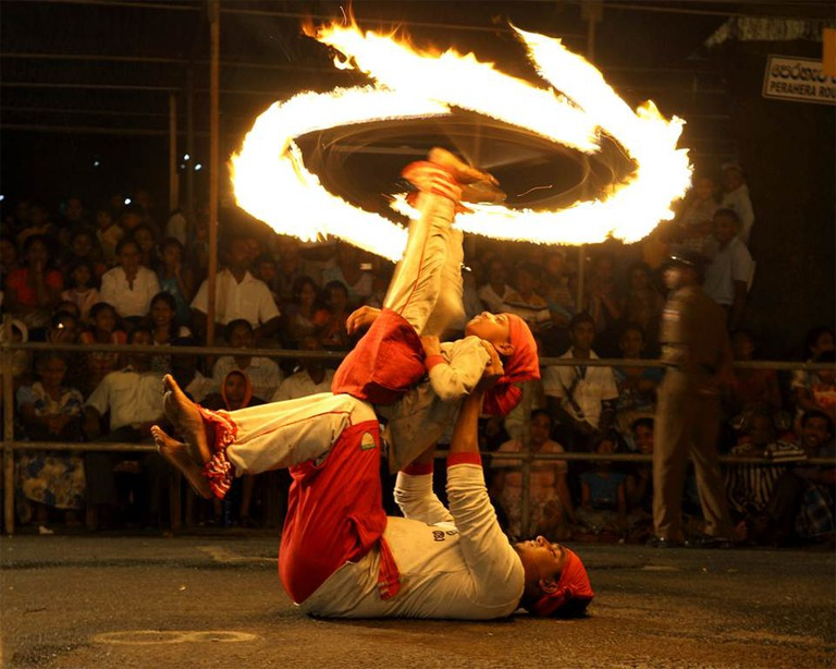The fire dancers at the Esala Perahera.
