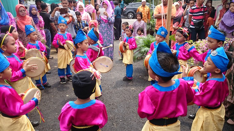 Young kompang troup at a Malay wedding
