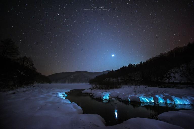 Otherworldly winter scene at Plitvice Lakes
