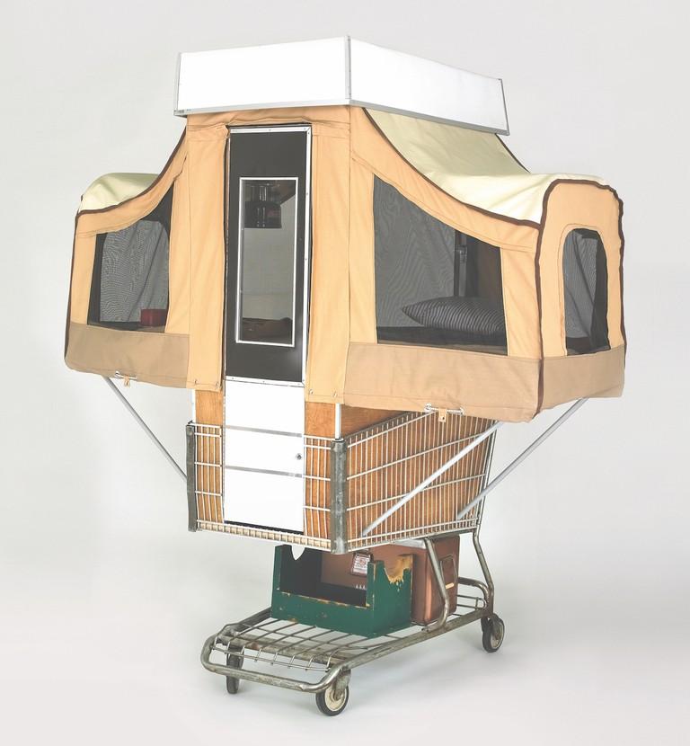 Camper Kart, Kevin Cyr, USA, 2009. Steel shopping cart, chipboard, nylon, canvas