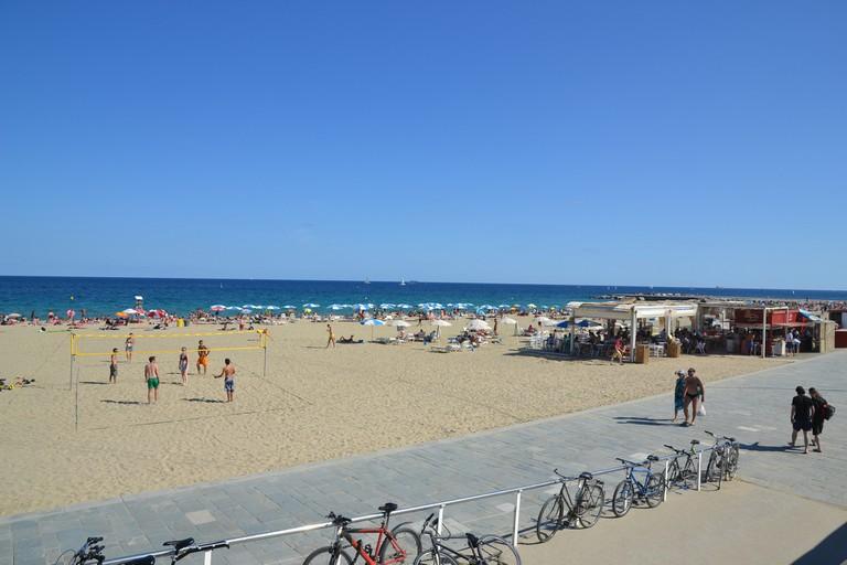 Beach volleyball at Bogatell Beach