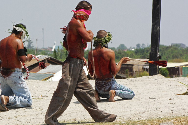 Self-flagellation ceremony in the Phillipines, similar to those that take place in Mexico