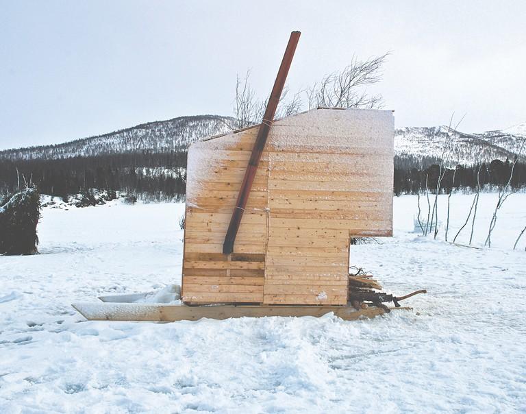 Nomad Sauna, Marco Casagrande, Norway, 2012. Timber, metal