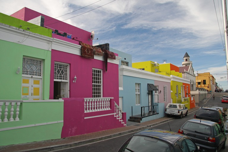 Brightly colored houses in the Bo-Kaap (former Cape Malay quarter)