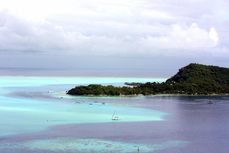 A sailboat in Bora Bora, Tahiti
