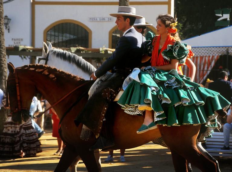 An equestrian display at the Jerez Horse Fair