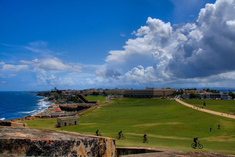 There's space on El Morro Castle's lawn for kid-friendly activities like cycling and kite-flying