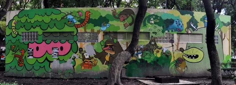 Green-hued street art