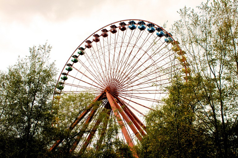 No more rides on this ferris wheel, although you can sometimes still see it turning among the debris – spooky!