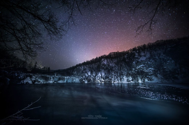 Awesome starry sky at Plitvice Lakes