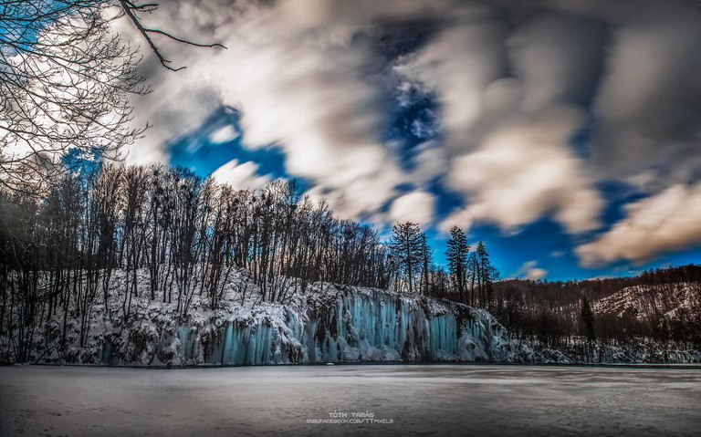Epic winter sky at Plitvice Lakes