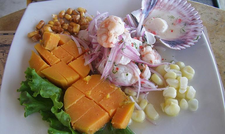 Ceviche mixto with shrimp
