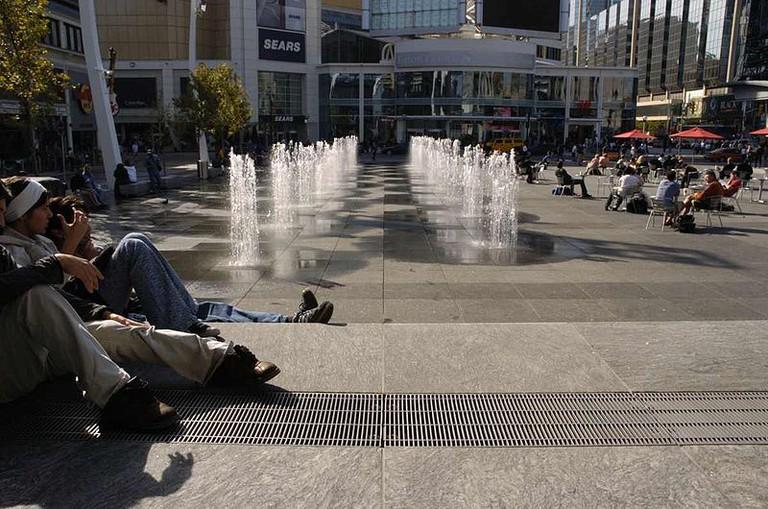 Lounging at Yonge-Dundas Square