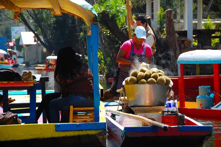 A floating vendor in Xochimilco