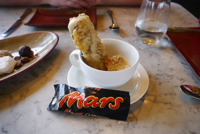 Deep-fried Mars bar with malted ice cream