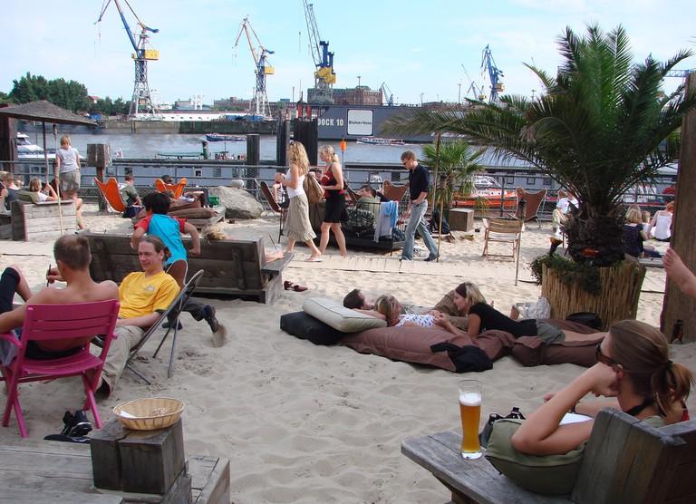 Relaxing at a beach bar