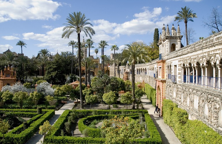 The Real Alcázar gardens in Seville, Spain