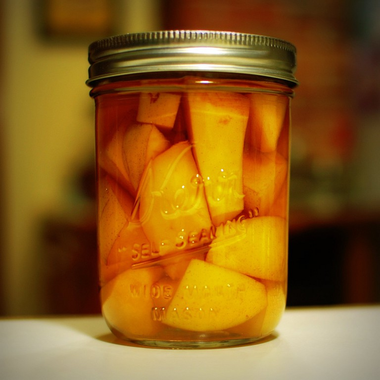 Alcohol with fruit in a mason jar