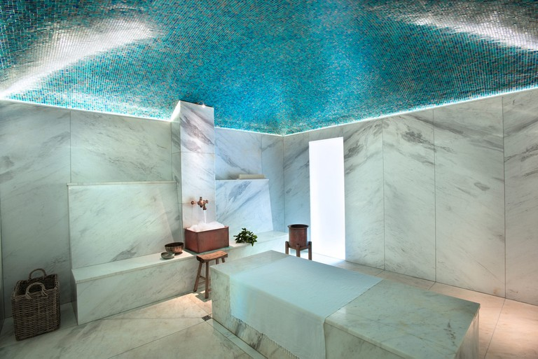 The wall to floor marble in the Hamman spa has a calming effect