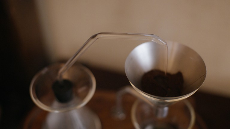 The user can set the time the coffee brews.