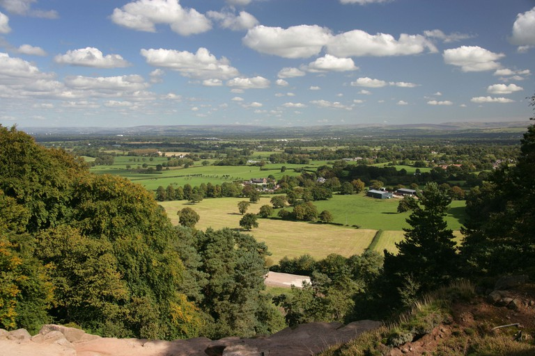 Area of Alderley, England. View from Stormy Point looking across the Cheshire plain towards the Peak District National Park.. Image shot 2009. Exact date unknown.