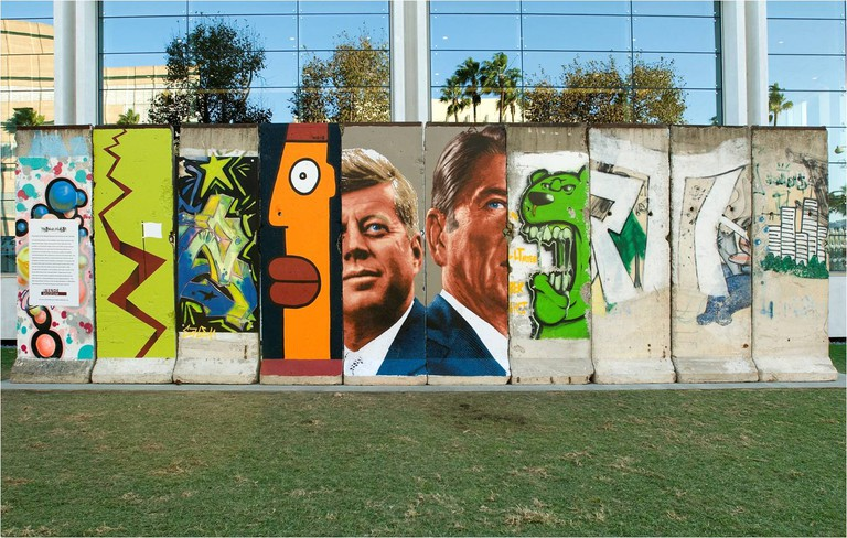 Ten fragments of the original Berlin Wall located on the Wilshire Boulevard, LA