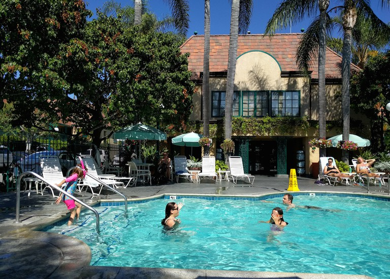 The pool at the Candy Cane Inn