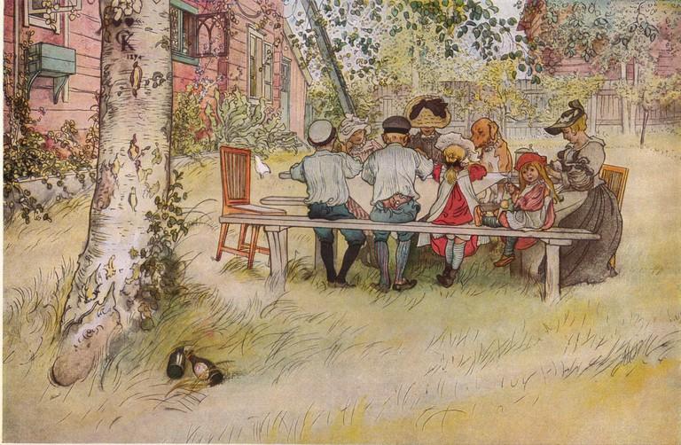 Frukost under stora björken (1896) by Carl Larsson