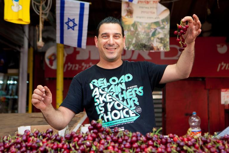 Only the best cherries at Tel Aviv's Carmel Market