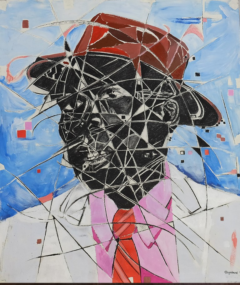 Layziehound Coka, Irony of a Black Man in a White Suit, Mixed Media