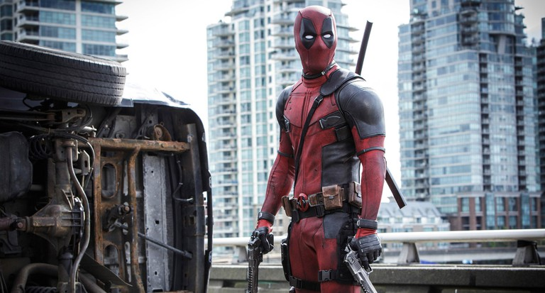 Ryan Reynolds as Deadpool, with a Vancouver backdrop