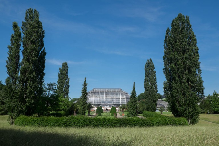 The view of the main spaceship-like greenhouse from the outdoor garden