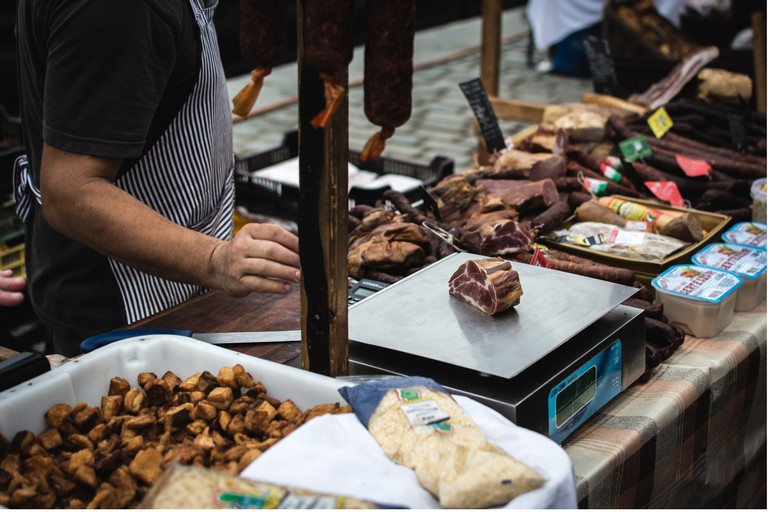 Meat is frequently sold at outdoor markets in Finland