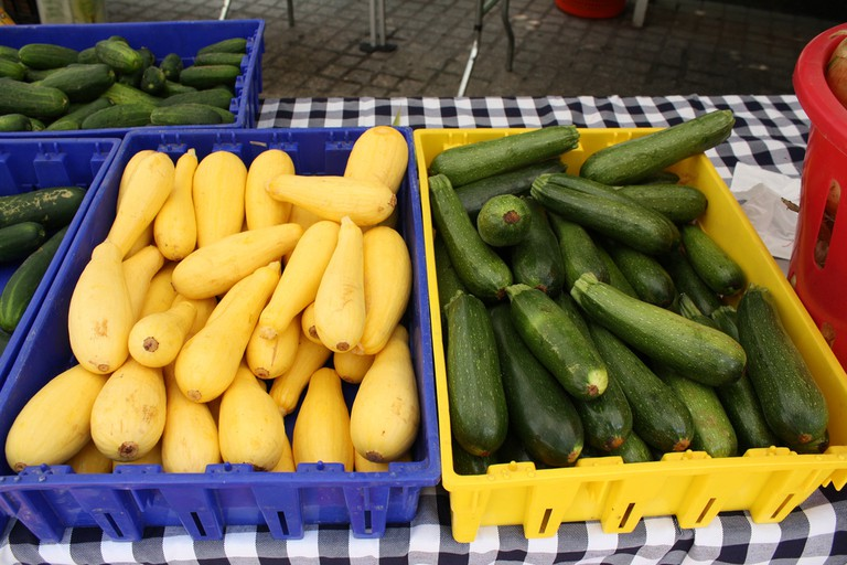Fresh seasonal produce on sale at Capital Harvest on the Plaza, a D.C. farmers' market