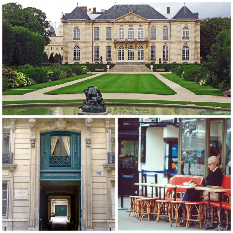 Hôtel Biron, Musée Rodin │© OTTAVI Alain Flickr ; 53 rue de Varenne, 75007 Paris, the former home of Edith Wharton │© Mbzt WikiCommons ; Stylish woman in Faubourg Saint-Germain │© Ornella Sinigaglia Flickr