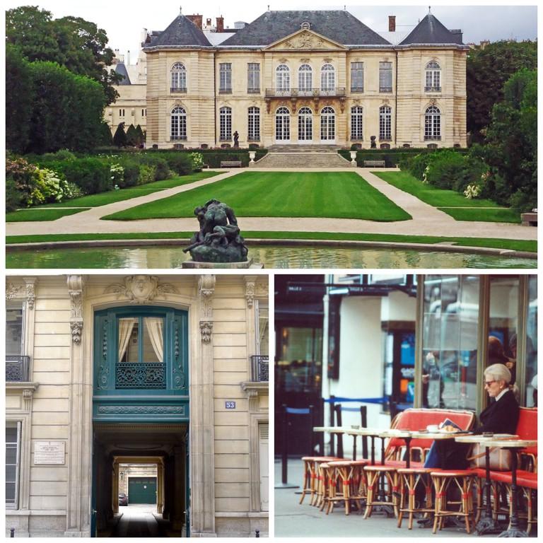 Hôtel Biron, Musée Rodin │© OTTAVI Alain Flickr ; 53 rue de Varenne, 75007 Paris, the former home of Edith Wharton │© Mbzt WikiCommons ; Stylish woman in Faubourg Saint-Germain │© Ornella Sinigaglia Flickr