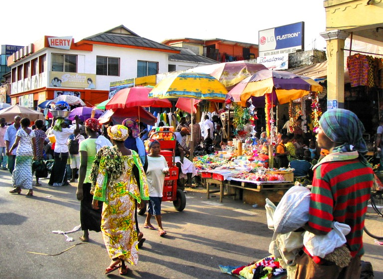 Busy day at a market in Accra