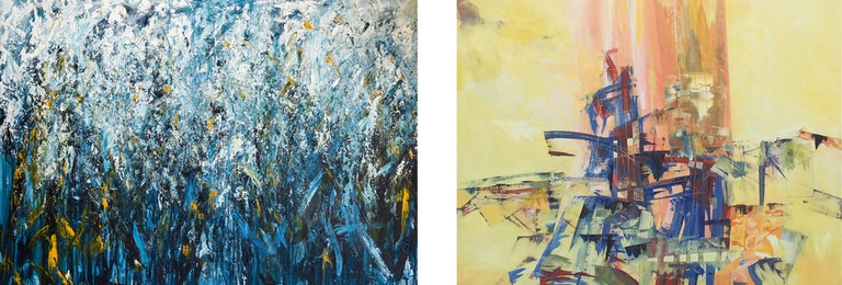 Left: Lindi Badenhorst, Forest Light, Acrylic on Canvas, Right: Johannes du Plessis, Nearly There, Acrylic on Canvas
