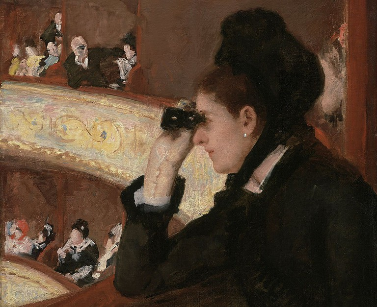 Detail from Mary Cassatt's Woman in Black at the Opera (1879) │