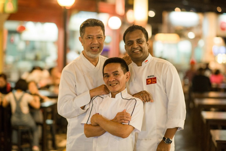 Chef Azman Kamis of Wedang, Chef Chan Hon Meng of Hong Kong Soya Sauce Chicken Rice and Noodle stall, Chef Manjunath Mural of Song of India | Courtesy of Michelin Guide Singapore