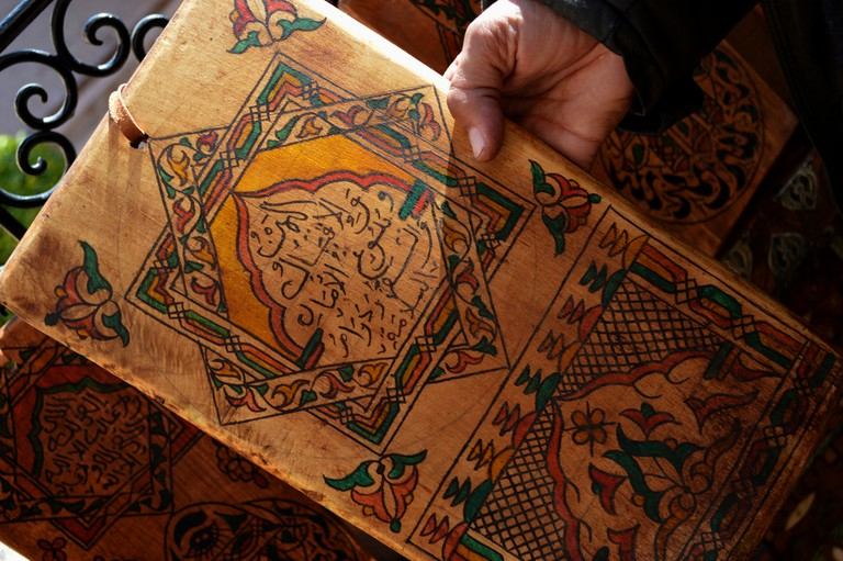 Hand-painted Moroccan wood tablet